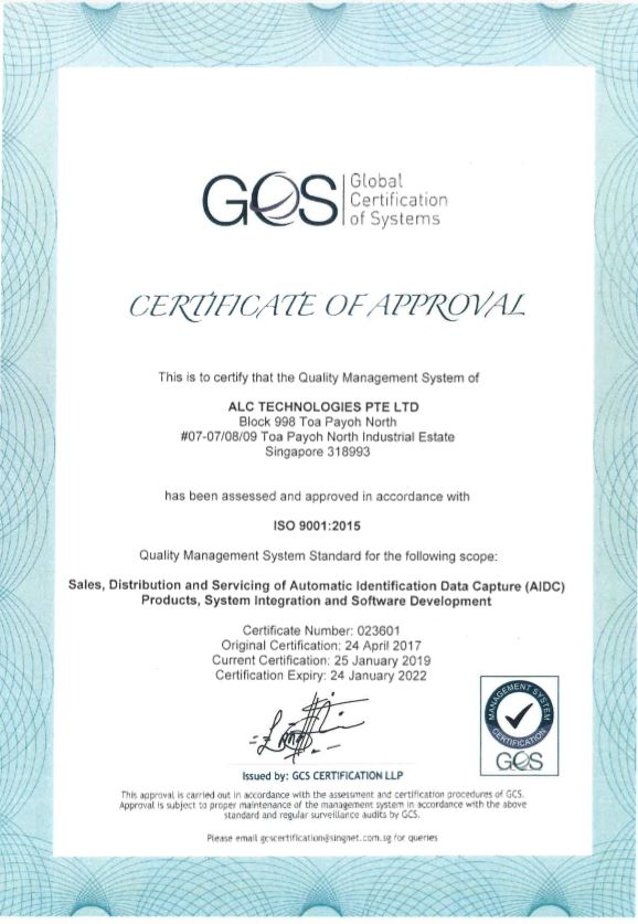 ALC Technologies Pte Ltd have obtained ISO 9001:2015 quality