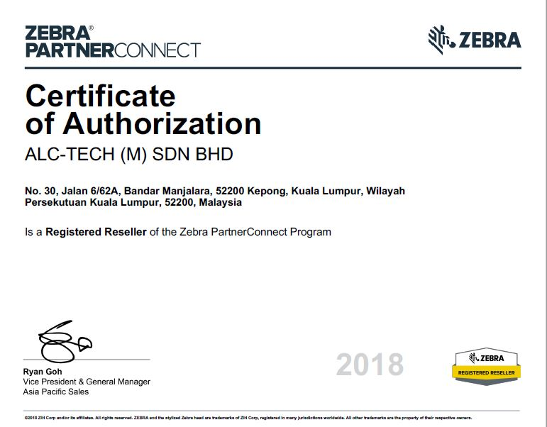 Malaysia Zebra barcode scanner and barcode printer certified